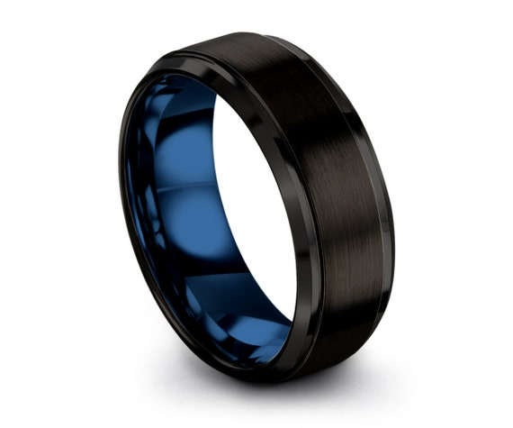 Brushed Step Edge Mens Wedding Blue Band Ring, Free Fast Shipping with Custom Personalized Engraving Included Anniversary Gift Idea