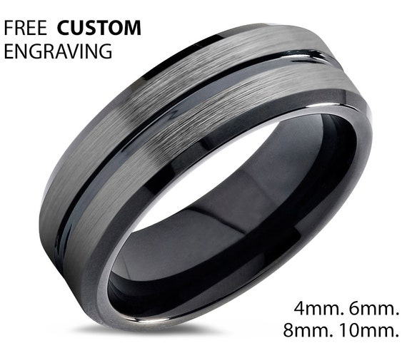 25ad8ac5cc7b3e Tungsten Ring Brushed Silver, Mens Wedding Band Black 8mm, Engagement Ring, Promise  Ring