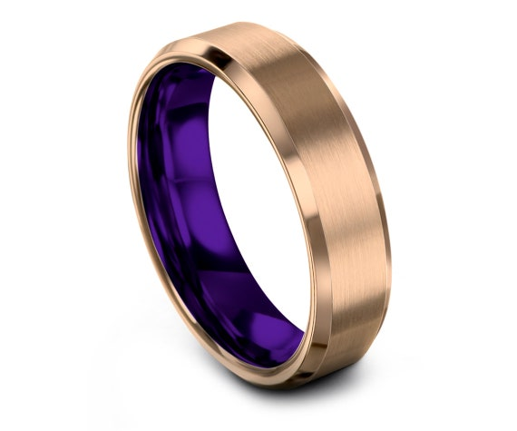 Genuine Tungsten Ring for Men, Tungsten Wedding Band, Men Purple Ring, Tungsten Ring Set, 18K Rose Gold Tungsten Carbide Band, Matching Ring