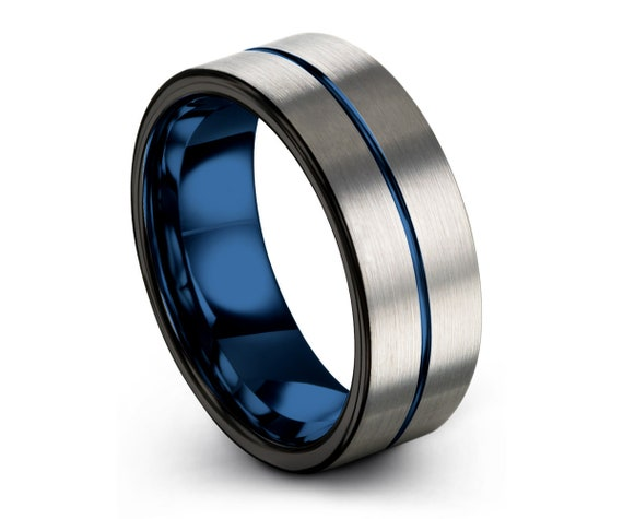 Brushed Wedding Band, Wedding Ring, Blue Tungsten Ring,Silver Tungsten Band, Mens Wedding Band, Tungsten Carbide Ring in Blue