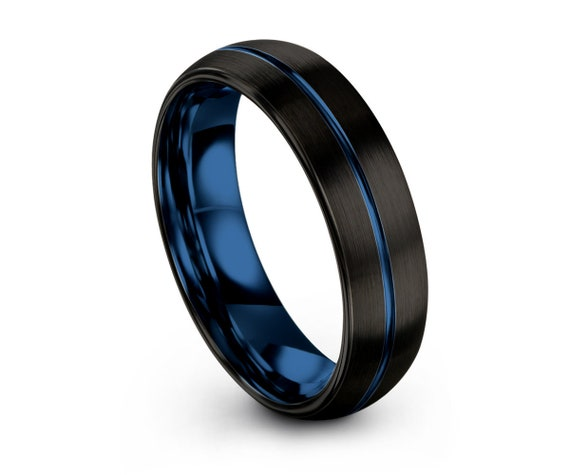 Mens Wedding Band Blue, Tungsten Ring Black 6mm, Wedding Ring, Engagement Ring, Promise Ring, Personalized, Gifts for Her, Gifts for Him