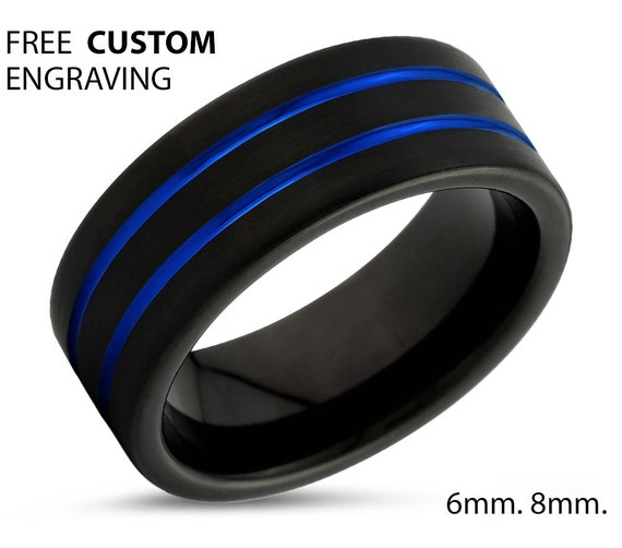 Unique Double-lined Blue Tungsten Ring   Fashion Piece, Wedding Band, Promise Ring, Engagement Ring, Rings for Men, Rings for Women
