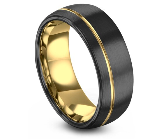 Gold Wedding Band, Brushed Tungsten Ring, Gunmetal, Engagement, Gifts for him, Gifts for her, Anniversary, Wedding, Promise Ring