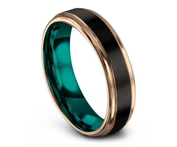 Step Edges Teal Tungsten Wedding Band | Mens Wedding Band Black | Wedding Tungsten Ring | Rose Gold Engagement Ring | All Size Available