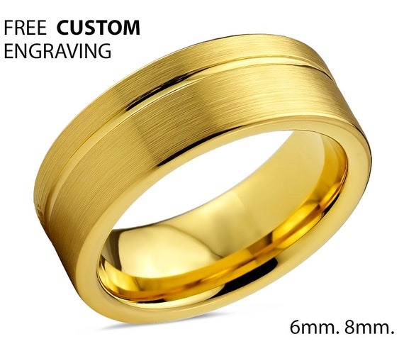 Mens Wedding Band, Tungsten Ring Yellow Gold 18K, Wedding Ring 8mm, Engagement Ring, Promise Ring, Rings for Men, Gold Ring, Mens Ring
