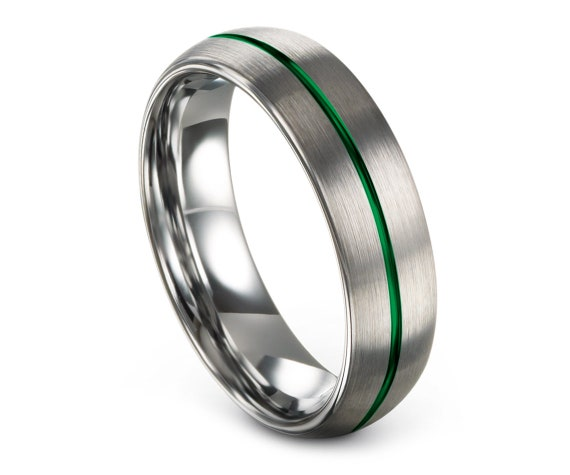 Comfort Fit Wedding Ring Domed Silver | Tungsten Carbide Ring 6mm | Thin Line Engraving Green | Tungsten Wedding Band Women | Promise Ring
