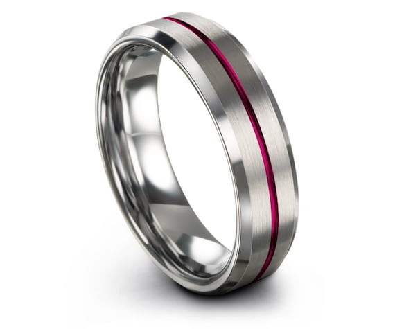 Mens Silver Rings Band 6MM, Silver Beveled Wedding Band, Center Line Engraving Pink, Engagement Ring, Personalized Ring, Gifts for Him