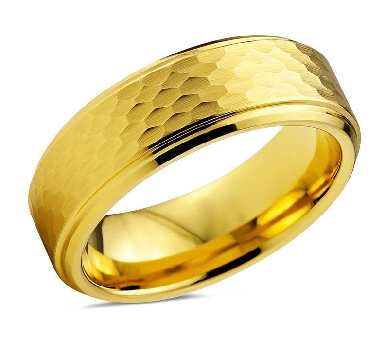 Wedding Ring 8mm Rings for Men Engagement Ring Mens Wedding Band Mens Ring Promise Ring Tungsten Ring Yellow Gold 18K Gold Ring