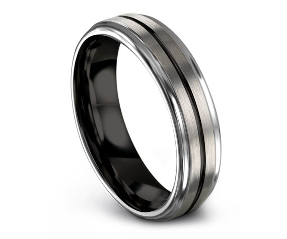 Step Edge Tungsten Wedding Ring with Brushed | 6mm 8mm Tungsten Carbide Ring | Tungsten Ring for Men | Gifts for Him |  All Size Available
