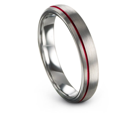 Tungsten 4mm Ring, Thin Ring, Women Wedding Band | Womens Silver Rings | Off Center Red Line Engraving | Engagement Gifts | Gifts for Her