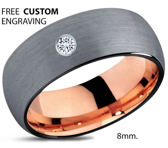 Brushed Black Tungsten Ring, 18k Rose Gold Black Band, Black Wedding Bands, White Diamond Mens Wedding Band, Tungsten Carbide,8mm