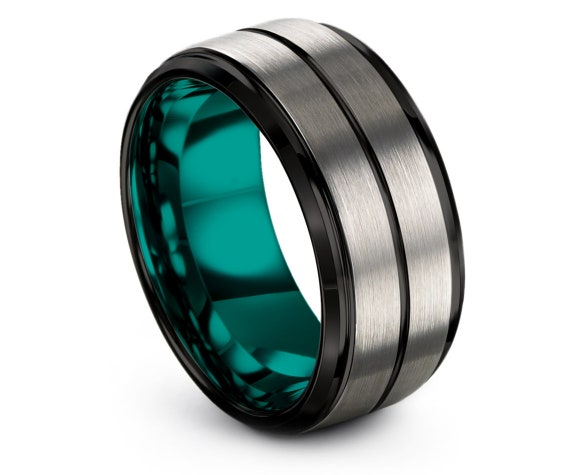 Man Wedding Band Red, Mens Teal Tungsten Ring, Silver Wedding Ring, Black Engagement Ring, Engraved Ring, Womens Rings, Personalized Gifts