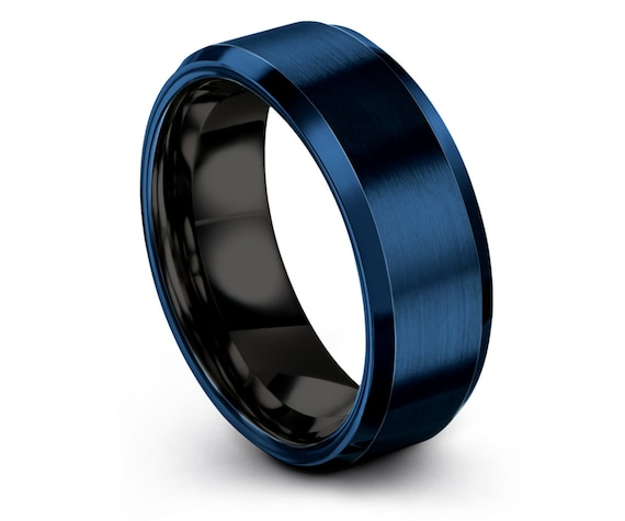 Unique Wedding Gift   Mens Black Rings   Tungsten 8mm Blue Wedding Band   Promise Rings   Gifts For Her   Personalized Ring   Custom Band