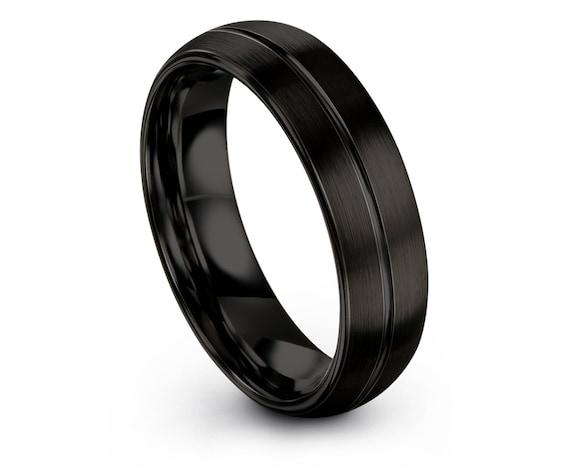 His and Hers Wedding Band Set - Mens Wedding Band - Black Tungsten Wedding Ring - Minimalist Ring - Handmade Rings - Engraved Ring- Custom