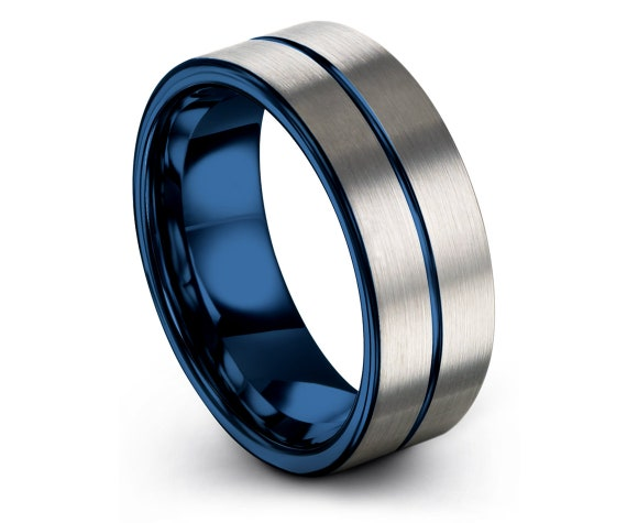 Unisex Fashion Ring,Comfort Wedding Band,Tungsten Wedding Band,Mens Silver Ring,Blue Engagement Ring,Center Line Engraving Blue,Promise Band