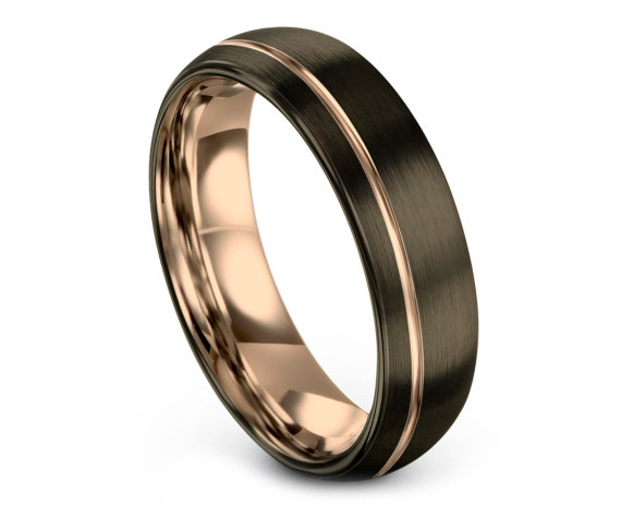 Gunmetal Tungsten Band,Domed Tungsten Wedding Ring Band,Rose Gold Engagement Ring,Promise Ring,Rings for Men,Minimalist Ring,8MM