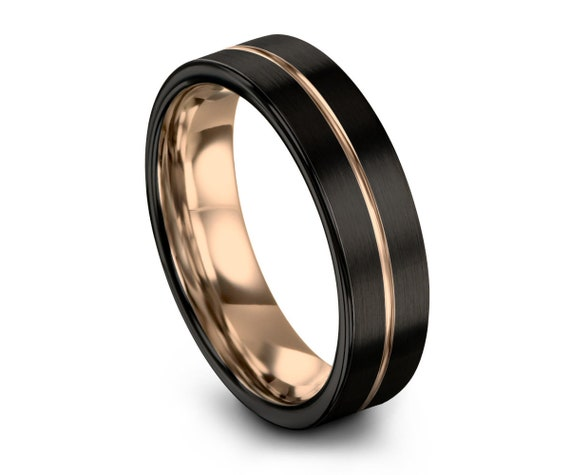 Black Wedding Band, Rose Gold Wedding Ring, 9mm 18K, Engagement Ring, Promise Ring, Rings for Men, Rings for Women, Gold Ring, Black Ring