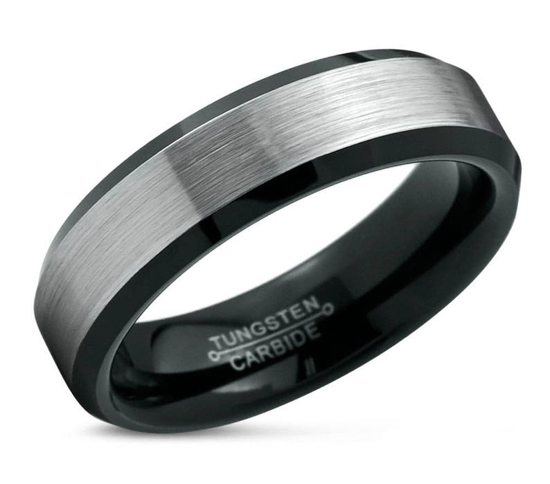 Mens Wedding Band Black Tungsten Ring Brushed Silver 6mm Etsy