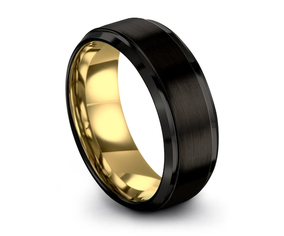 Black Tungsten Ring Yellow Gold Wedding Band Ring Tungsten Carbide 8mm 18K Tungsten Ring Man Wedding Band Male Women Anniversary Matching