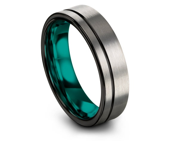Offset Line Black Engraving, Flat Tungsten Wedding Band Silver, Mens Wedding Band Teal, His and Hers Rings, Gifts For Husband, Ring For Him