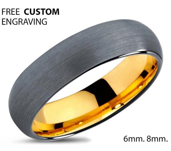 Brushed Silver Black Tungsten Ring Yellow Gold Wedding Band Ring Tungsten Carbide 6mm 18K Tungsten Ring Man Male Women Anniversary Matching