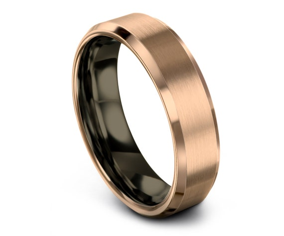 Men's Tungsten Wedding Band,Rose Gold Ring,Gunmetal Tungsten Wedding Ring,Tungsten Carbide 6mm,His and Hers Ring,Rings for Men,Infinity Ring