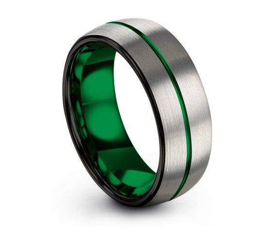 Mens Wedding Band Green, Brushed Silver Wedding Ring, Tungsten Ring 8mm, Personalized Ring, Engagement Ring, Promise Ring, Gifts for Him
