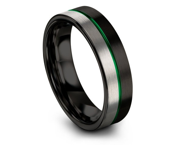 Silver and Black Tungsten Wedding Band | Flat Tungsten Wedding Band Mens | Green Tungsten Band | Engraved Thin Ring | His and Hers Rings