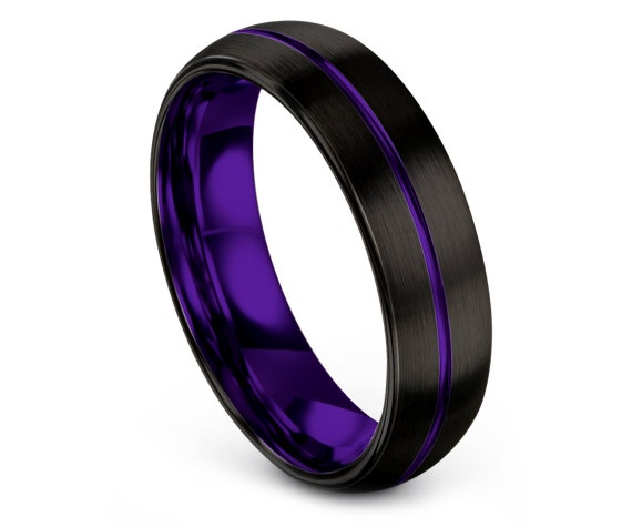 Custom Rings | Black Tungsten Wedding Bands Domed | Mens Wedding Band Black | Center Line Engraving | Wedding Gifts | Promise Ring For Him