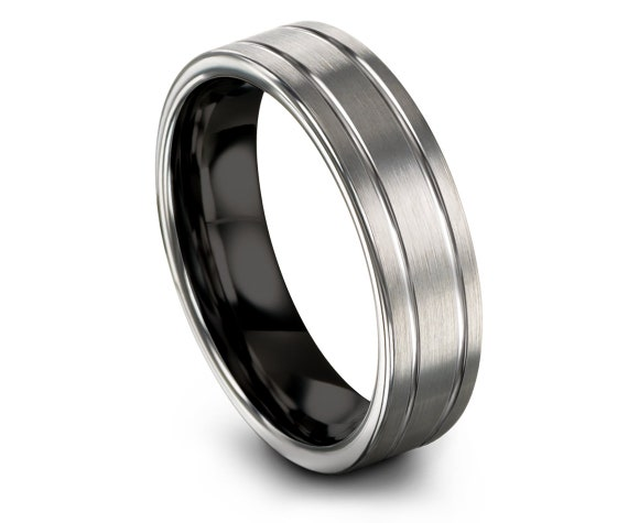 Flat Cut Tungsten Ring Black,Women Tungsten Band,Double Line Engraving,Silver Ring,Couple Infinity Ring,Custom Tungsten Wedding Ring,6mm