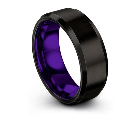 Tungsten Ring Mens Black Purple Wedding Band Tungsten Ring Tungsten Carbide 8mm Tungsten Man Wedding Male Women Anniversary Matching