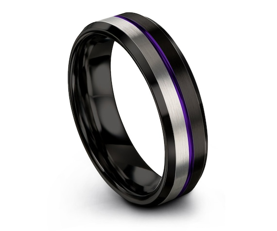 Black Beveled Tungsten Ring | Silver Tungsten Wedding Band | Center Line Engraving Purple | Anniversary Ring | Gift For Him | Free Shipping