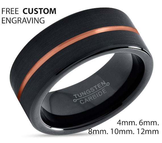 Black Tungsten Ring Rose Gold Wedding Band Ring Tungsten Carbide 8mm 18K Tungsten Ring Man Wedding Band Male Women Anniversary Matching