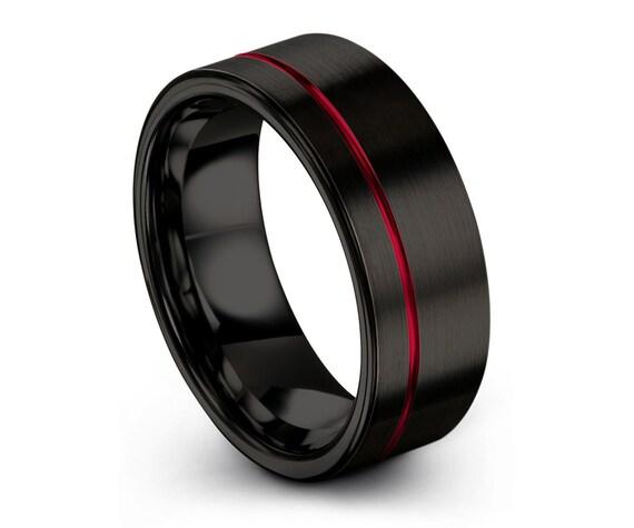 Mens Wedding Band Black, Tungsten Ring Red 7mm, Wedding Ring, Engagement Ring, Promise Ring, Rings for Men, Rings for Women, Black Ring
