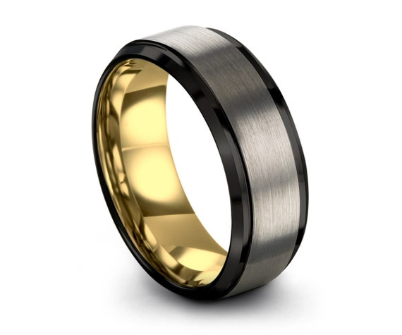 Brushed Silver Black Tungsten Ring Yellow Gold Wedding Band Ring Tungsten Carbide 8mm 18K Tungsten Ring Man Male Women Anniversary Matching