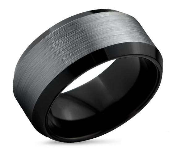 Mens Wedding Band, Tungsten Ring Brushed Silver, Wedding Ring Black 10mm, Engagement Ring, Promise Ring, Rings for Men, Black Ring, Silver