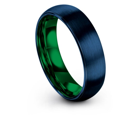 Tungsten Wedding Band 4mm 6mm 8mm 10mm, Womens Blue Ring, Green Tungsten Carbide Ring, Engagement Ring, Promise Ring, Anniversary Gifts