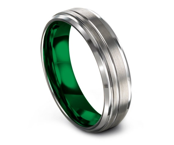 Silver Green Tungsten Band, Tungsten Engagement Ring, His and Hers Rings, Beveled Tungsten Band, Engraved Ring, Custom Ring, Comfort Fit