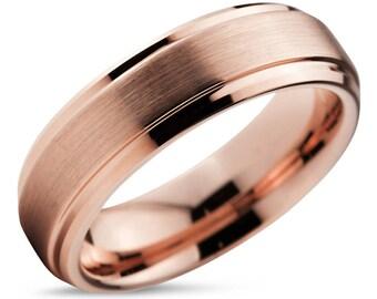 Tungsten Ring Rose Gold 18K, Mens Wedding Band, Wedding Ring, 10mm 8mm 6mm 4mm, Engagement Ring, Promise, Rings for Men, Rings for Women