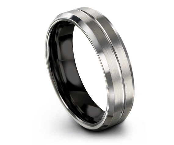 Silver Tungsten Wedding Band, Mens Tungsten Ring Black, Minimalist Ring, Handmade Ring, Engraving Silver Ring , 6mm, 8mm, All Size 4-15