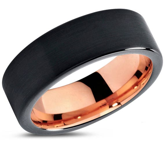 Mens Wedding Band, Rose Gold Wedding Ring, Tungsten Ring 7mm 18K, Engagement Ring, Promise Ring, Personalized, Gifts for Her, Gifts for Him