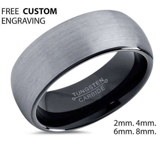 Brushed Silver Tungsten Wedding Band | Men & Women Wedding Ring | Promise Ring | Free Personalized Engraving