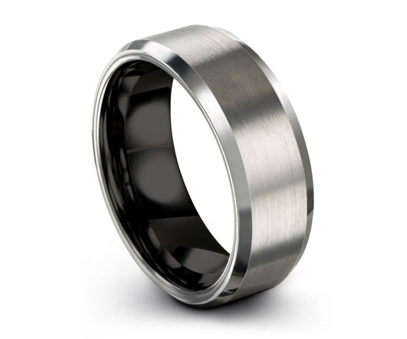 Men's Wedding Band Black, Wedding Ring Brushed Silver, Tungsten, Engagement Ring, Promise Ring, Personalized, Rings for Men, Rings for Women