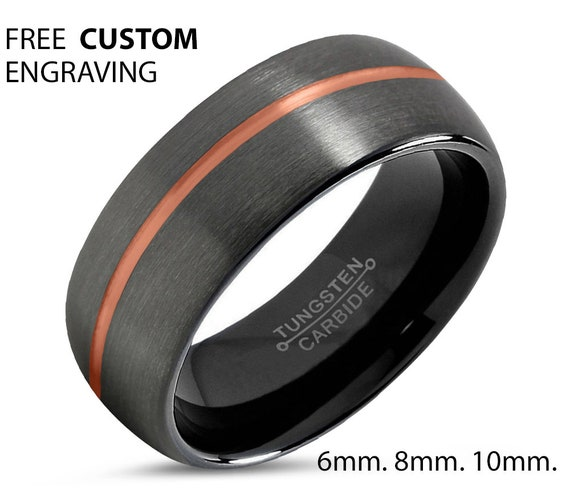 Personalized Tungsten Gunmetal 18K rose gold stripe secret message ring