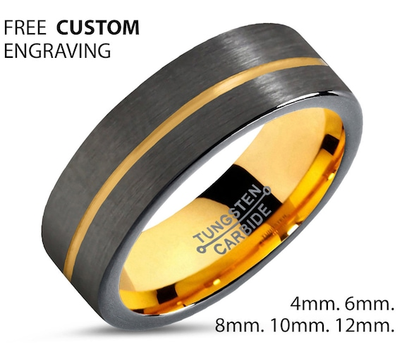 Brushed Gunmetal Black Tungsten Ring Yellow Gold Wedding Band Ring Carbide 18K Mens Womens His Her Jewelry Free Shipping Custom Engraving