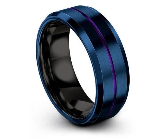 Black Wedding Band, Mens Blue Wedding Band, Tungsten Wedding Band, Center Line Engraving Purple Ring, Promise Ring, Rings for Men, 8mm Ring