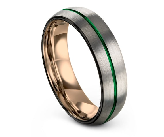 Silver Tungsten Ring Set, Rose Gold Engagement Band, 6MM Tungsten Carbide Wedding Band Black, Center Engraving Green Ring, Promise Ring