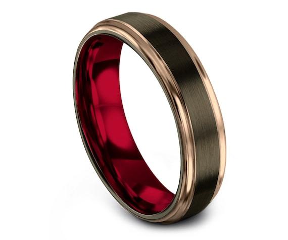 6mm 8mm Tungsten Wedding Band Rose Gold, Tungsten Carbide Ring Men Red, Gunmetal Wedding Band, Matching Ring, Mens Band, Free Shipping