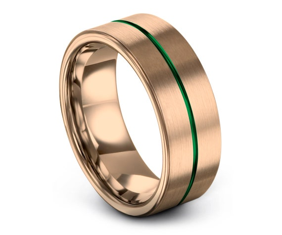 Rose Gold  Wedding Band |Tungsten Wedding Band 8MM |Tungsten Carbide Wedding Band |Green Tungsten Ring |Thin Center Line Engraving |Custom