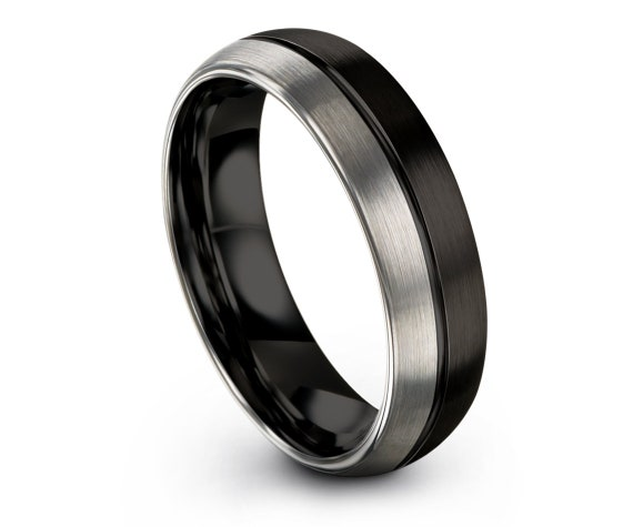Black Tungsten Band,Comfort Fit Wedding Band,Personalized Ring,Black Silver Ring,Tungsten Ring Men,6mm Ring,Engagement Ring,Free Shipping